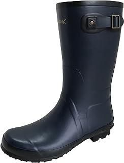 [アマート] メンズ ベルト ハーフ ブーツ 長靴 雨靴 通勤 アウトドア 親子 ファミリー 3色 AMT-1102 (M(25.0 cm~25.5 cm), ネイビー)