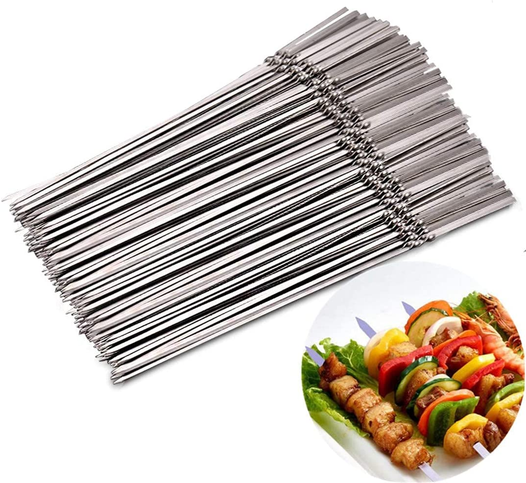 XYSQWZ San Francisco Mall 15Pcs Reusable Max 86% OFF Flat Stainless BBQ Steel Skewers Barbecue