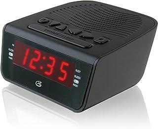 GPX C224B Dual Alarm Clock AM/FM Radio with Red LED Display (Black)