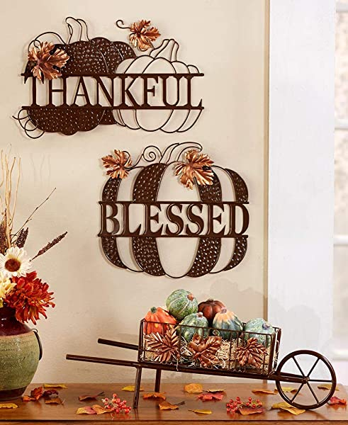 FallDecor For Home Harvest Pumpkin Leaves Set Of 2 Metal Wall Hangings Blessed Thankful