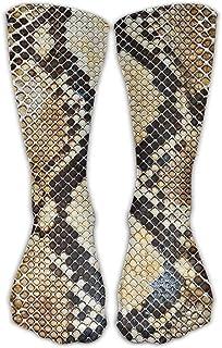 Bigtige, Hombres Mujeres Classics Crew Calcetines Patrón de piel de serpiente Calcetines atléticos personalizados 50cm Long-All Season