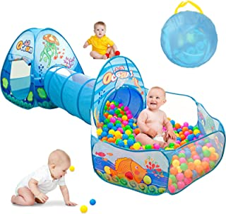 SUNBA YOUTH 3 in 1 Kids Play Tent, Ball Pit Tents with Play Crawl Tunnel,Pop Up Playhouse & Ball Pit with Basketball Hoop ...