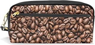 ALAZA Coffee Bean Pencil Case Zipper PU Leather Cosmetic Makeup Bag Multifunction Pen Stationery Pouch Bag Large Capacity
