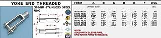 316-NM Stainless Steel Yoke End Threaded 3/16