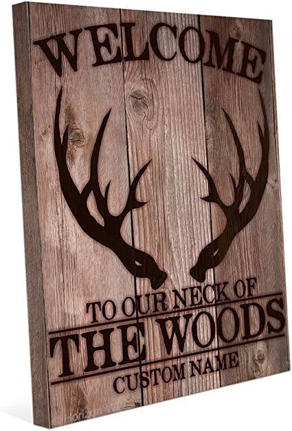 Welcome To Our Neck Of The Woods With Deer Antlers Customizable Wall Art Print Posters Prints