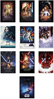 Star Wars: Episode I, II, III, IV, V, VI, VII, VIII, IX & Rogue One - Movie Poster Set (10 Full Size Movie Posters - Version 2) (Size: 27 x 40 inches)