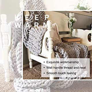 """Best EASTSURE Chunky Knit Luxury Throw Blanket Soft Polyester Chenille Bulky Blankets for Cuddling up in Bed, on The Couch or Sofa - Large Cable Blanket (Grey) 40""""x40"""" Review"""