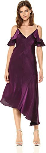 mujer Morgan Wohombres Shimmer Slip Dress with Cold Shoulder Ruffle, Amethyst, 4
