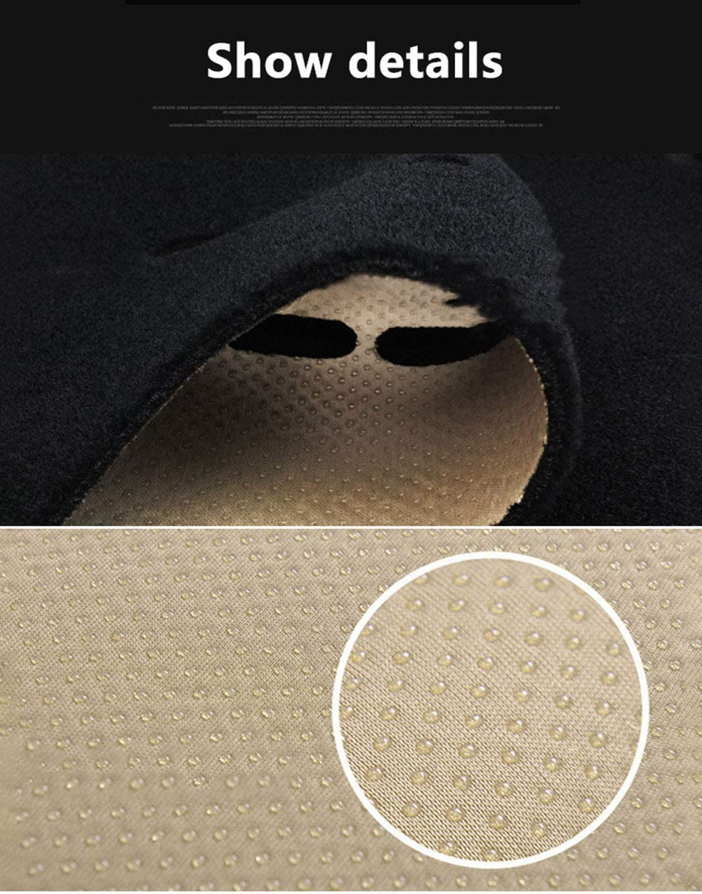 CARLAMPCR Dashboard Black Center Console Cover Dash Mat Protector Sunshield Cover Pad Carpet for Suzuki Vitara 4th,LHDBlueside