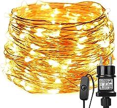 LE 20m 200 LED Luces de Hadas con Enchufe, Alambre de Cobre Impermeable IP65, Guirnalda de Luces LED Blanco Cálido, Luces de Cadena Decoración de Fiestas, Balcón, Casa, Arbol de Navidad, Jardín etc.
