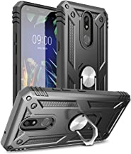 LG K40 Case, Yunerz LG K12 Plus/LG Harmony 3/LG Solo LTE (L423DL)/LG X4 2019/LMX420 Military Grade Armor Dual Layer Case with 360 Degree Rotating Ring Kickstand and Magnetic Case Cover (Black)