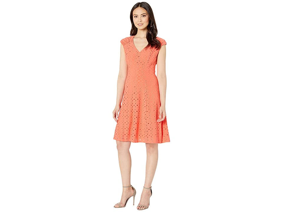 London Times Shirred Shoulder Fit and Flare (Coral) Women