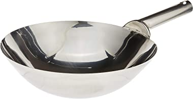 Winco Stainless Steel Welded Joint Wok, 14-Inch