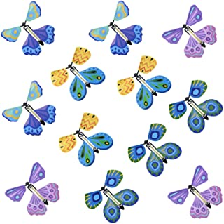 LAINSD 12 Pcs Magic Fairy Flying Butterfly, Auto Wind up Colorful Flying Butterfly Rubber Band Power Toys Decorations for ...