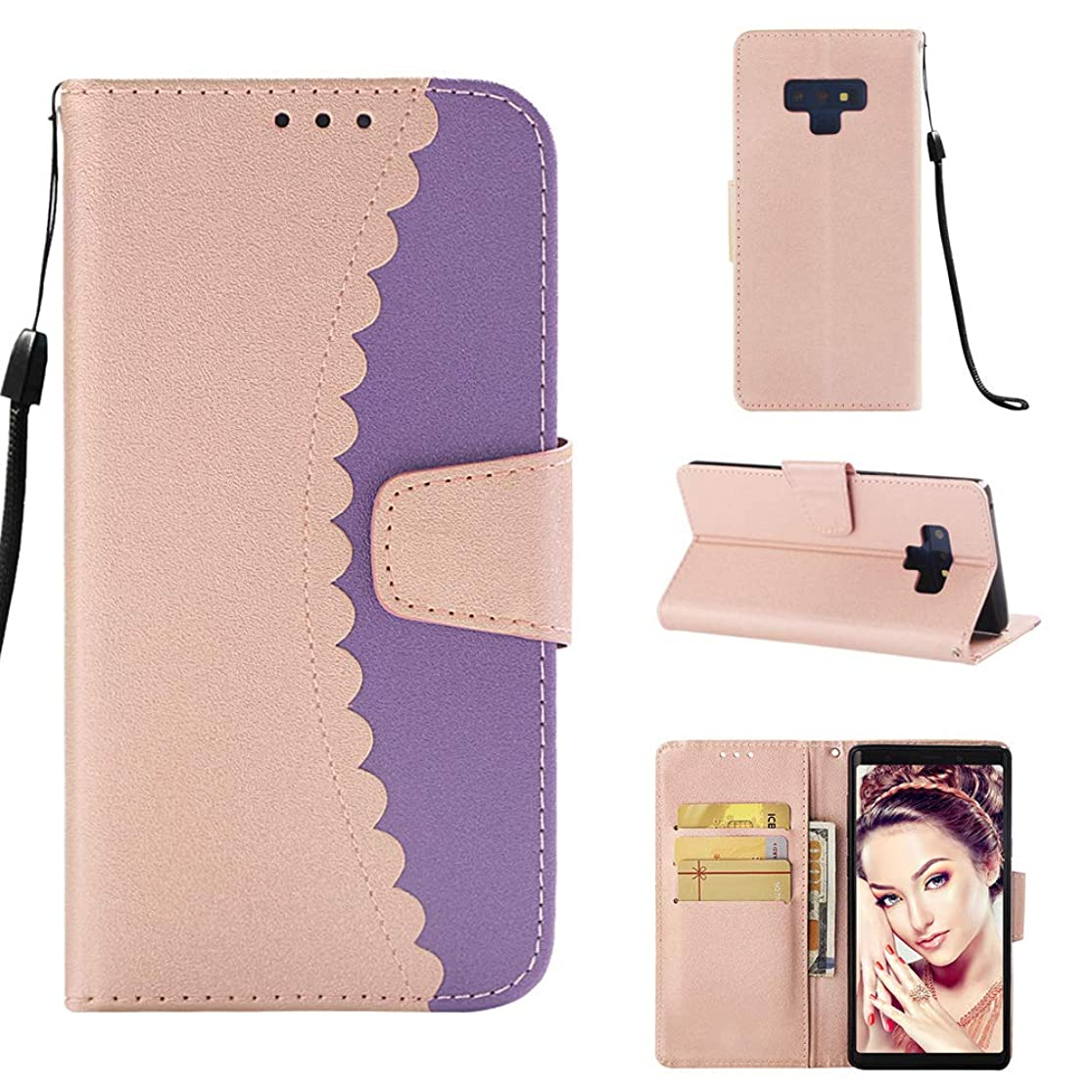 iPromama Samsung Galaxy Note 9 Wallet Case, iPromama [Folio Style] Premium Card Cases Stand Feature Skin Flip Cover for Samsung Galaxy Note 9 [Rose Gold + Purple] outotmdb5