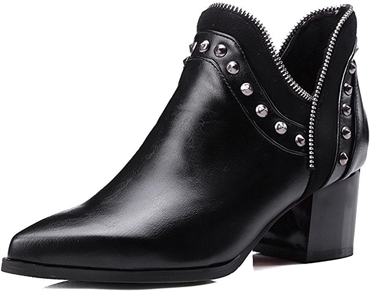 WANabcMAN Comfortable Women's Pointed Closed Toe Kitten Heels Ankle High Solid Boots Popular