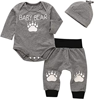 Toddler Baby Boys Autumn Cute Baby Bear Pawl Print Bodysuit Pants Hat Outfit Set