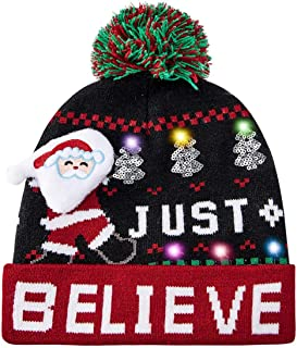 Enlifety Light Up Christmas Hats Ugly Knitted Sweater Beanie Caps Funny SkullCapXmasPartyGifts with6ColorfulLights