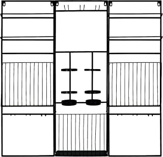 PRINZ Bar Decorative Wall Mounted Modular Metal Wine Rack and Glass Holder, 36W x 36H, Black