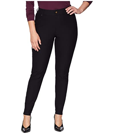 HUE Plus Size Essential Denim Leggings (Black) Women