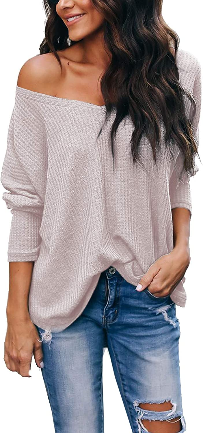 Albe Rita Women's Casual V-Neck Batwing Sleeve Pullover Tops