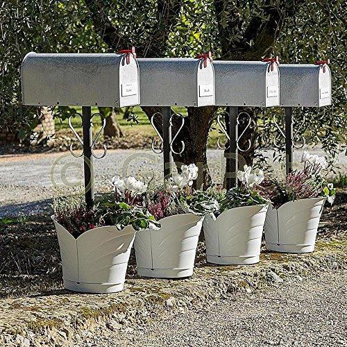Blumentopf Um Säule Herum für Pfosten Fallrohr Regenrohr Pflanztopf 2 Teilig Weiß