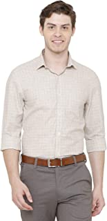 CAVALLO by Linen Club Spread Collar Regular Fit Checked Linen Formal Shirt for Men-Beige