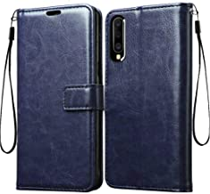 Frazil Vintage Leather Flip Cover Case for Samsung Galaxy A50/A50s/A30s | Inner TPU | Foldable Stand | Wallet Card Slots - Dark Blue