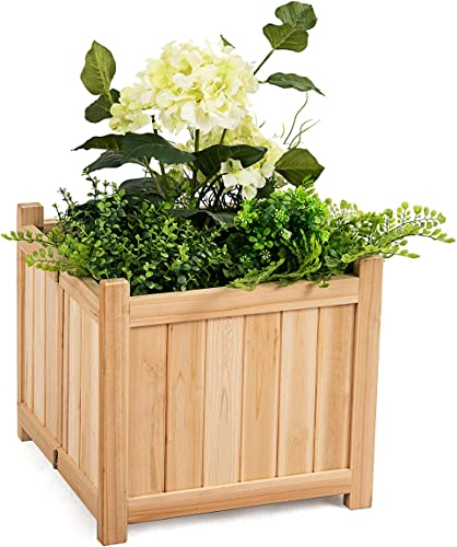 """discount Giantex lowest Raised Garden Bed, Wood Planter for Vegetable Flower, Outdoor Elevated Planting Boxes, Folding Plant Container Patio Lawn Garden Backyard, Easy Assembly, 15"""" Lx15 Wx14 outlet online sale H (Natural) online sale"""