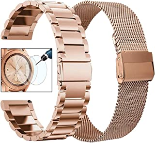 CAGOS Compatible Galaxy Watch 42mm Bands Sets, 20mm 2 Pack Stainless Steel + Mesh Strap Bracelet Replacement for Samsung Galaxy Watch 42mm /Ticwatch E/Garmin Vivoactive 3 Smartwatch - Rose Gold