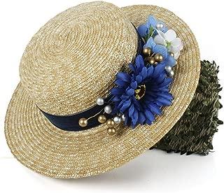 XinLin Du Women Sun Hat 100% Wheat Straw Lady Summer Flat Sunbonnet Boater Beach Hat With Fashion Flower