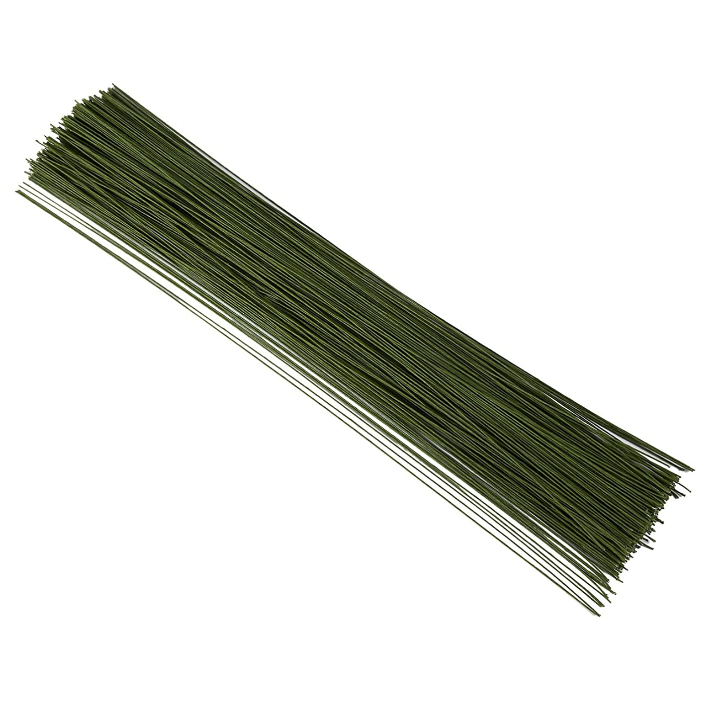 Juvale 300 Piece Wrapped 22 Gauge Floral Wire Stems for Bouquets, Flower Arrangements and DIY Crafts, Dark Green, 16 Inches