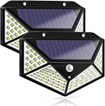 LED Solar Lights Outdoor,100 LED Motion Sensor Solar Security Lights, Outdoor Waterproof Solar Wall Light for Gate,Yard,Ga...