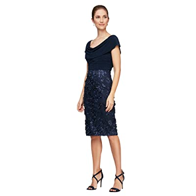 Alex Evenings Short Sleeves Cowl Neckline 3-D Flower Sheath Dress (Navy) Women
