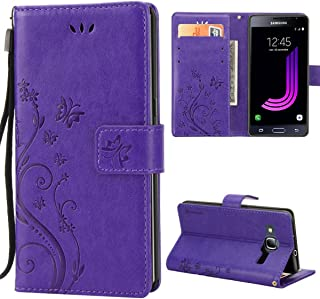 Galaxy J3 Leather Case,Premiun Wallet Leather Credit Card Holder Butterfly Flower Pattern Flip Folio Stand Case for Samsung Galaxy J3 2016 J320 & Amp Prime & Express Prime with a Wrist Strap - Purple