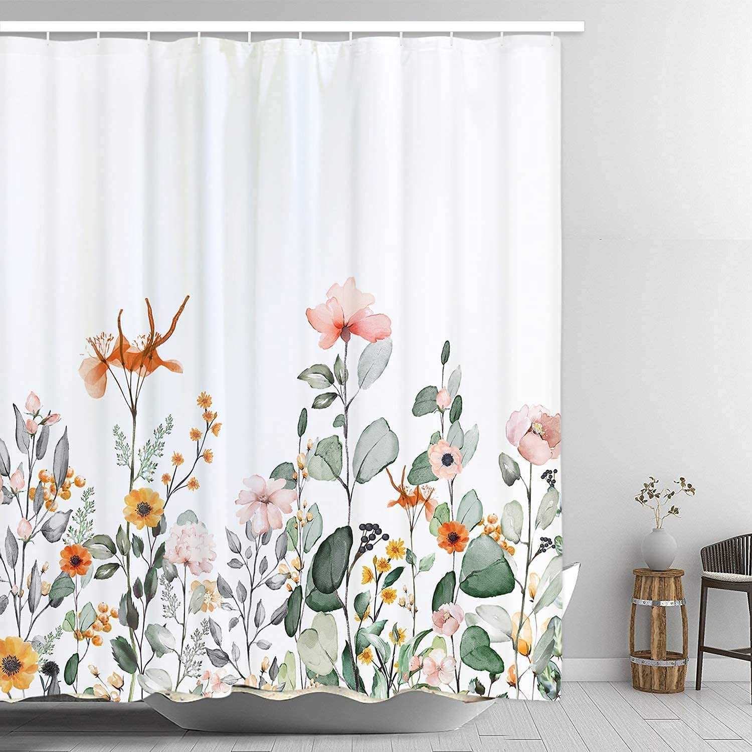 Floral Shower Curtain with Cheap mail order shopping 12 Flowers Show Year-end gift Hooks Leaves Colorful