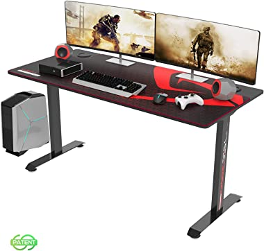 DESIGNA Large Gaming Desk Large 60 Inch, T-Shaped Home Office Computer Desk with Full-Size Mouse Pad, Table Workstation with Cable Management Holes, Black