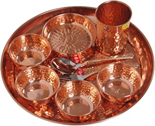 Hammered Traditional Design Copper Thali Set,Multicuisine Dinnerware Pieces 9 Pieces Set