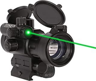Pinty 1x 30mm Red Dot Sight with Green Laser Sight - 2 MOA Red Dot Scope with Flip Up Lens Caps
