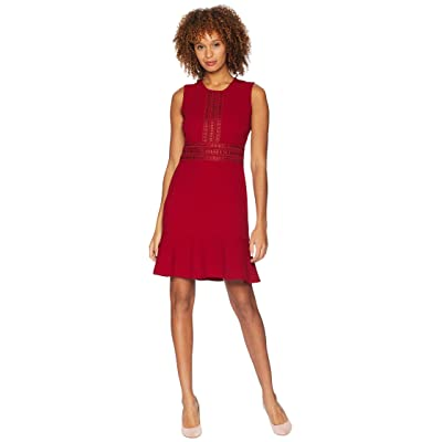 London Times Sleeveless Fit Flare Dress w/ Lace (Red) Women