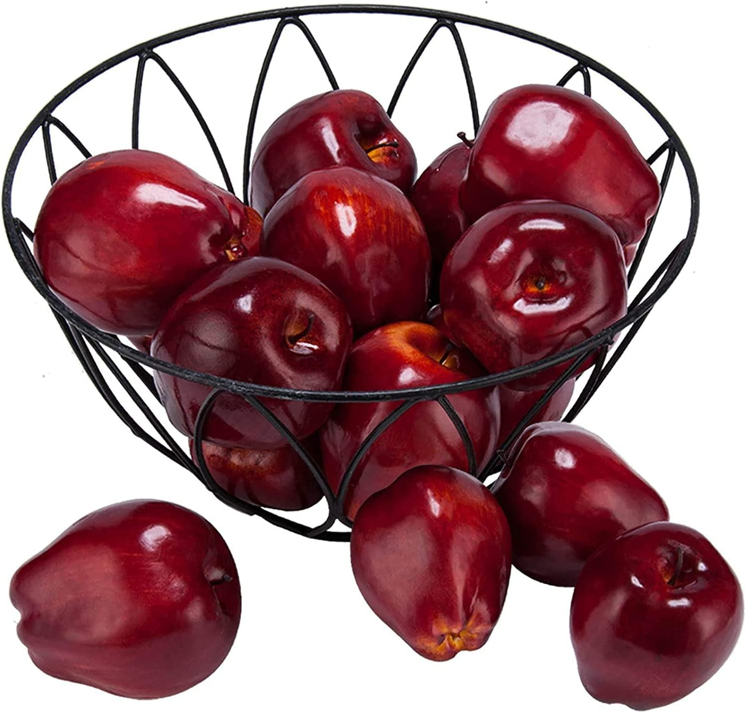 16PCS Artificial Red Apples Simulation 1 year warranty Lifelike Outstanding Fruit fo
