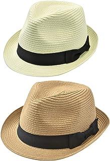 f12552d41e669 Faleto Chapeau de Paille Homme Femme Unisex Chapeau été tricoté à la Main  Style Jazz Classique