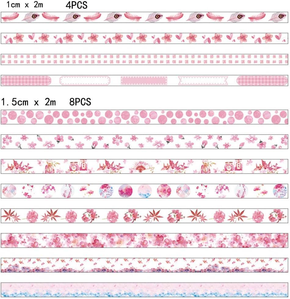 scrapbook 24 Rollos Azul Lezed Washi Tape Bullet Journal Rollos de Cinta Adhesiva Rollos de Cinta Washi Cinta Adhesiva Decorativa para /Álbum de Recorte Arte y Artesan/ía para DIY manualidades