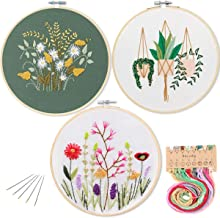3 Pack Embroidery Starter Kit with Pattern, Kissbuty Full Range of Stamped Embroidery Kit Including Embroidery Cloth with Pattern, Bamboo Embroidery Hoops, Color Threads and Tools Kit (Floral Plants)