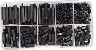 HVAZI 320pcs M2.5 Nylon Hex Spacer Standoffs Screws Nuts assortment Kit; Male-Female(Black)