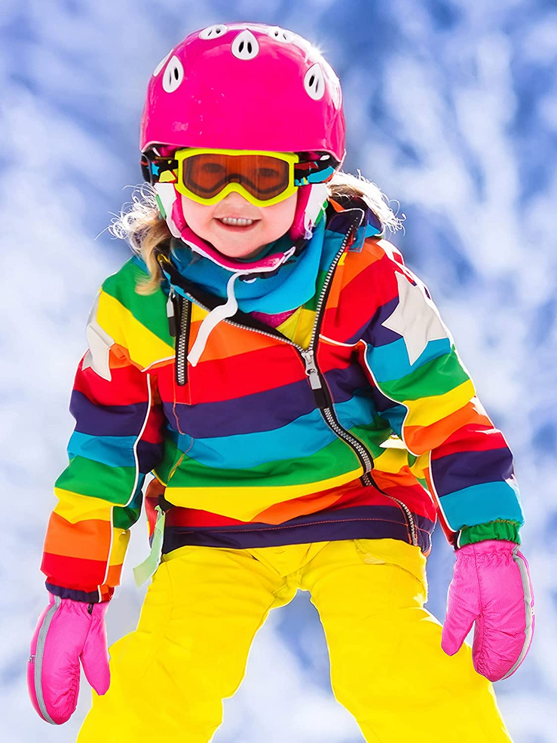 4 Pairs Kids Winter Ski Gloves Reflector Tape Mittens Waterproof Warm Snow Gloves Toddler Mittens Unisex Gloves for Outdoor Activities (Vivid Color,3-5 Years Old)