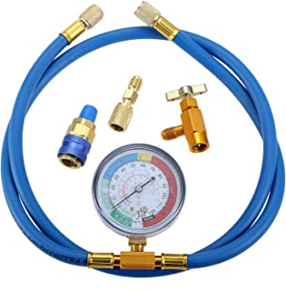 "Aupoko R134A Recharge Hose Kit with Gauge, 59'' AC Refrigerant Recharging Hose with 1/2"" Acme Female R134A Can Tap Refrigerant Dispenser, R134A Quick Couple, and R410A Straight Swivel Adapter"