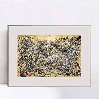 INVIN ART Framed Canvas Giclee Print Art Number 1A,1948 by Jackson Pollock Abstract Wall Art Living Room Home Office Decorations(Aluminum Metal White Frame with Mat & Glass,28
