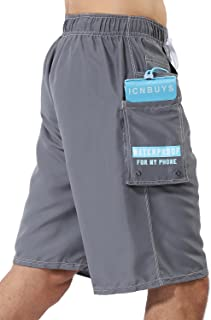Swim Trunks Beach Trunks with Waterproof Phone Pouch Pocket Grey Quick Dry