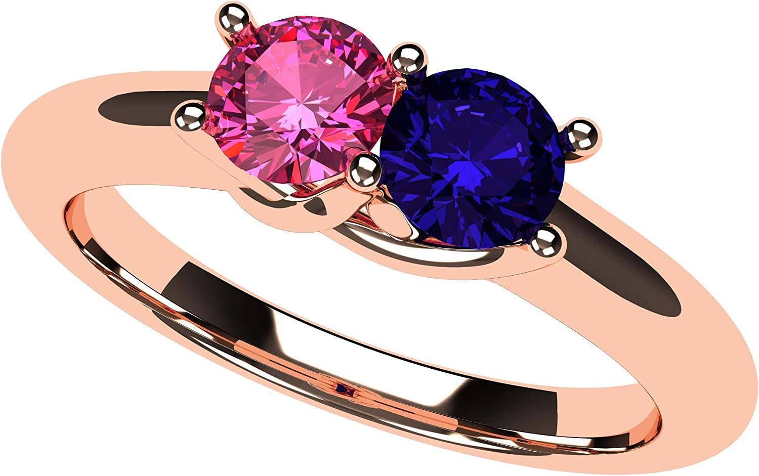 Lucita Couples Ring Los Angeles Mall w 2 Simulated Birthstones Ranking TOP7 14K White in Yel